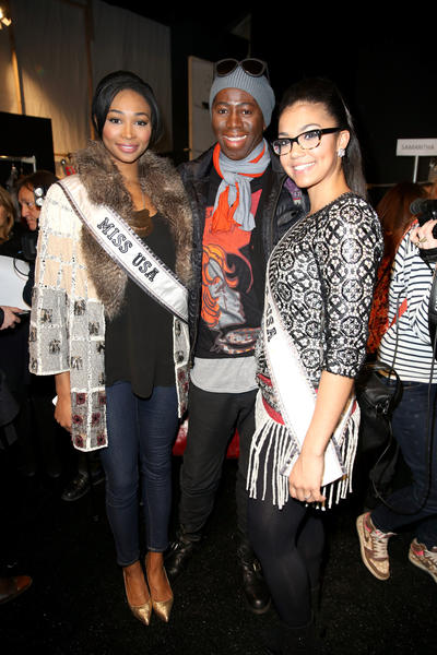 Miss USA Nana Meriwether (L), J. Alexander and Miss Teen USA 2012 Logan West pose backstage at the Custo Barcelona Fall 2013 fashion show during Mercedes-Benz Fashion Week at The Stage at Lincoln Center.