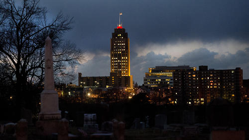 The PPL building sparkles as dusk sets in over the Allentown skyline, as seen from Lehigh Street on Tuesday, March 19, 2013.