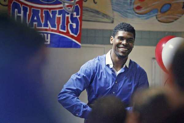 Ramses Barden, Flintridge Prep graduate and free agent wide receiver in the NFL, laughs at a question he was asked Wednesday at Hathaway-Sycamores.