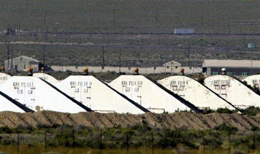 Storage bunkers at the Hawthorne Army Depot in Nevada.