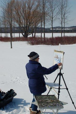 Alanson plein air artist Janel Anderson paints a picturesque Northern Michigan winter scene.