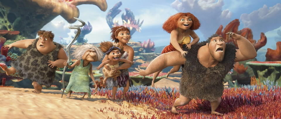"<b>PG; 1:31 running time</b><br><br>Earthquaked out of their cave dwelling, the Crood brood embarks on a search for a new home. There's an interloper: Eep encounters an advanced caveboy with impressive low body fat (Ryan Reynolds, voice). The caveboy, Guy, is not just a pinup; he's a harbinger of humankind's future. He knows about fire, for example (""the sun is ... in his hands!"") and has things called ""ideas."" -- Michael Phillips<br><br><a href=http://www.chicagotribune.com/entertainment/movies/sc-mov-0319-croods-20130321,0,315003.column>Read the full ""The Croods"" movie review</a>"