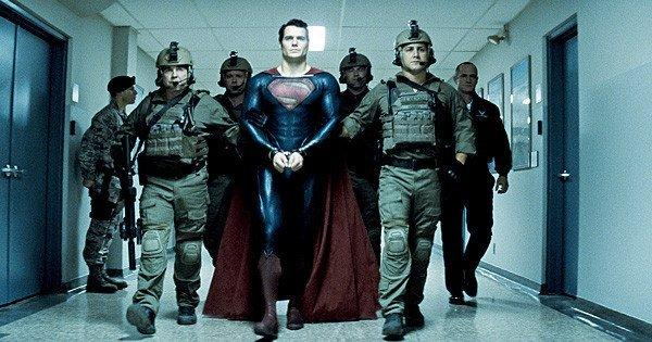 "Henry Cavill(center) in the action adventure ""Man of Steel,"" a Warner Bros. Pictures release."