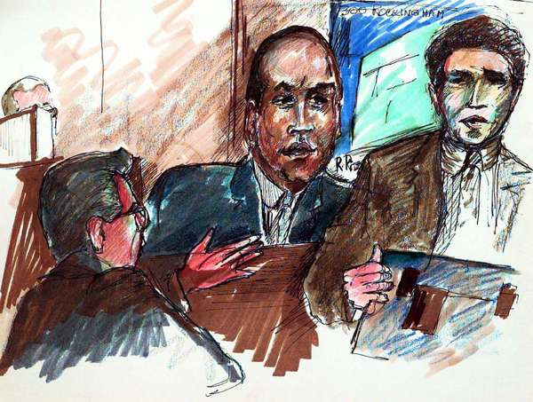 This Nov. 1996, file photo, shows Roslie Ritz's artist sketches of the 1996 trial.