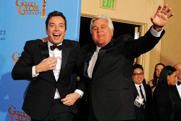 Jimmy Fallon and Jay Leno have a laugh at the 2013 Golden Globes.