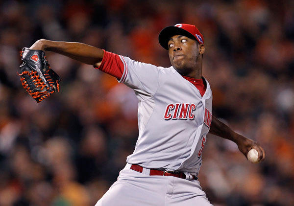Cincinnati Reds relief pitcher Aroldis Chapman (54) faces the San Francisco Giants in the 9th inning during Game 1 of their MLB NLDS playoff baseball series in San Francisco, California October 6, 2012.