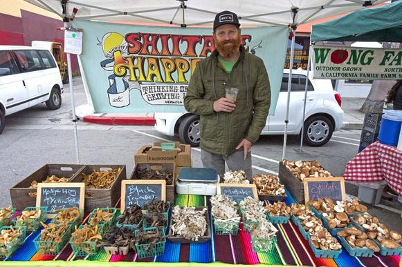 Matt Parker of Shiitake Happens sells mushrooms, some wild, some grown in Gardena.