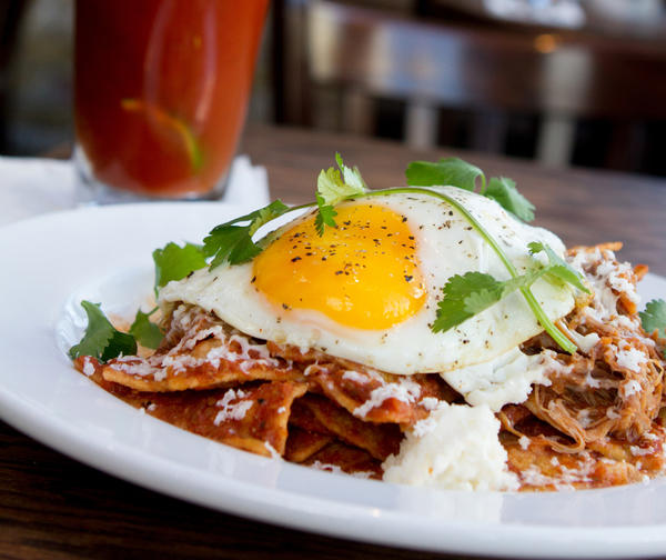 Duck chilaquiles at The Monarch
