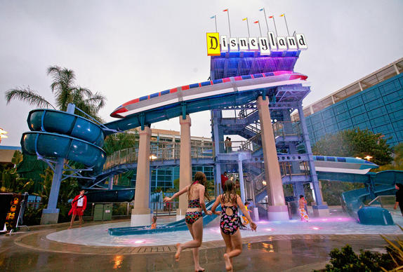 The newly renovated pool area at the Disneyland Hotel is a tribute to the early years of Disneyland Park. Guests can splash down two water slides at the Monorail Pool, cool off at either the E- or D-Ticket pools or relax in the Mickey or Minnie Spas, a pair of outdoor hot tubs.