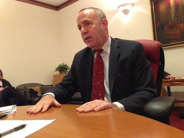 Senate leader Darrell Steinberg (D-Sacramento) speaks to reporters in the Capitol on Thursday.