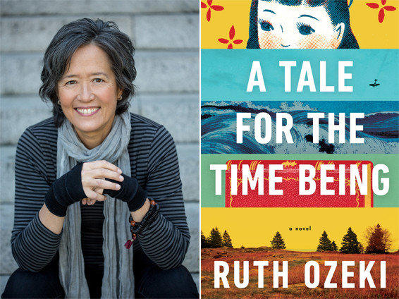 Author Ruth Ozeki and the cover of her novel, 'A Tale for the Time Being'.