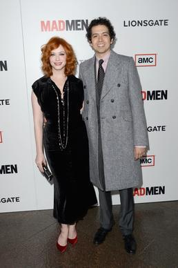 "Christina Hendricks poses with her real-life husband Geoffrey Arend, who stars in ABC's ""Body of Proof."""