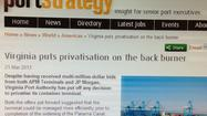 A UK-based port trade publication posted and then pulled an article that said the Virginia Port Authority board had decided to shelve privatization plans, several days before a scheduled vote on that issue.