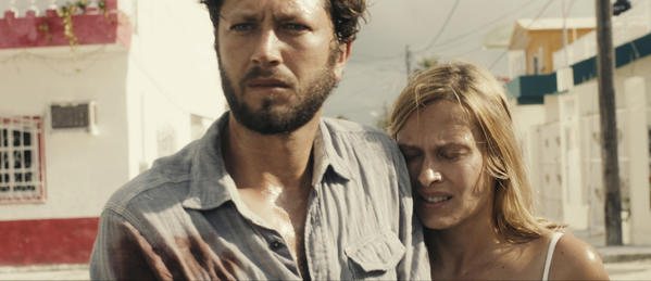 "Ebon Moss-Bachrach and Vinessa Shaw in the film ""Come Out and Play."""
