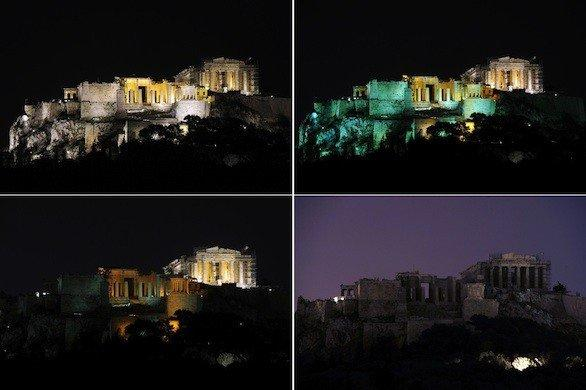 Photos taken on Earth Hour 2012 (March 31) show the Acropolis in Athens lighted and then going dark.