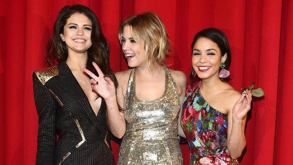 "Selena Gomez (from left), Ashley Benson and Vanessa Hudgens attend the ""Spring Breakers"" Germany premiere in Berlin."