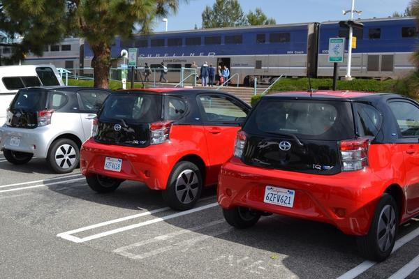 Thirty new zero-emissions electric vehicles are arriving to expand UC Irvines ZEV-NET ride-sharing program at an Irvine train station.
