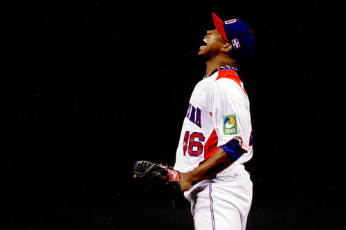 Pedro Strop reacts after finishing an inning against Puerto Rico in the WBC final.