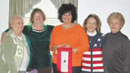 <a>Antietam</a> Unit 236, Sharpsburg American Legion Auxiliary President Ava Gift, Chaplain Darlene Hoffman, members Venetta Potts and Linda May presented a Blue Star Service Banner to Kathy Jones at Sharpsburg Bible Church March 16.