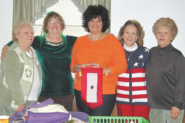 Antietam Unit 236, Sharpsburg American Legion presented a Blue Star banner to the Jones family recently. From left, Venetta Potts, Darlene Hoffman, Kathy Jones, Ava Gift and Linda May.