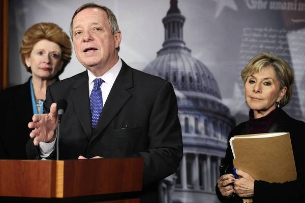 Senate Democrats Debbie Stabenow of Michigan, left, and Barbara Boxer of California flank Majority Whip Richard J. Durbin of Illinois. Democrats are expected to approve their own 10-year budget plan that goes in the opposite direction from a House GOP plan.