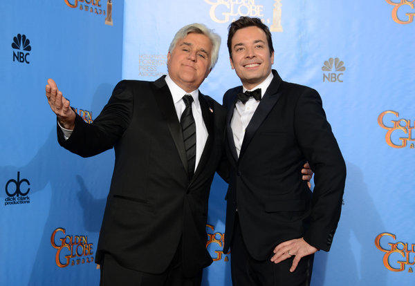 Jay Leno and Jimmy Fallon are seen backstage at the 70th Annual Golden Globe Awards in Beverly Hills.