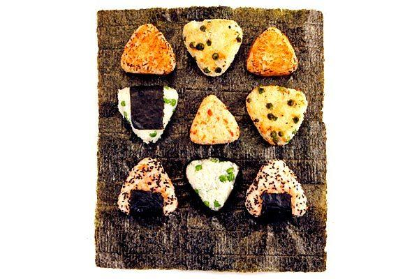 Onigiri can be shaped a variety of ways using any of a number of fillings.