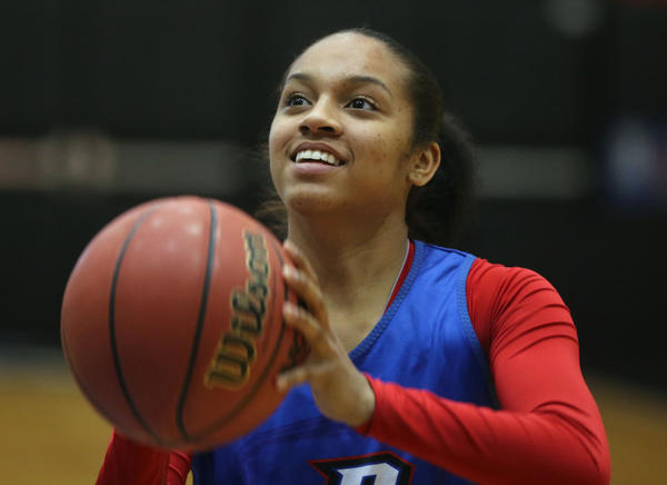 DePaul's Chanise Jenkins at practice before the NCAA tournament.