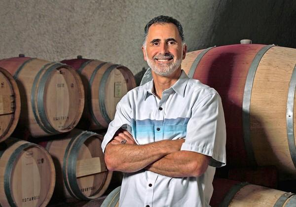 Jeff Morgan in the cellars at Covenant Wines, which makes highly regarded kosher wines in Napa Valley.
