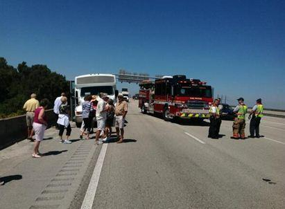 Eight people suffered minor injuries when their tour bus collided with a tractor trailer on I-75 near I-595 in Sunrise
