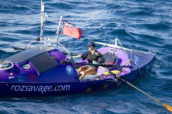 """Rosalind """"Roz"""" Savage rows her 23-foot boat, Sedna. She has rowed across three oceans and items from her travels will be on display at ExplorOcean."""