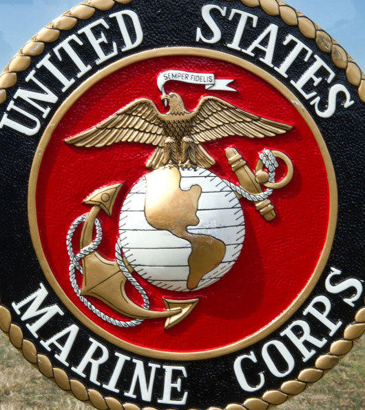 The US Marine Corps logo is seen March 9th, 2012, at the US Marine Corps Base Quantico.
