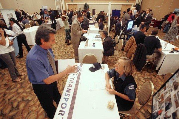 Hundreds of workers seeking jobs attend the Orange County Job Fair at the Hyatt Regency in Irvine March 5, 2013.
