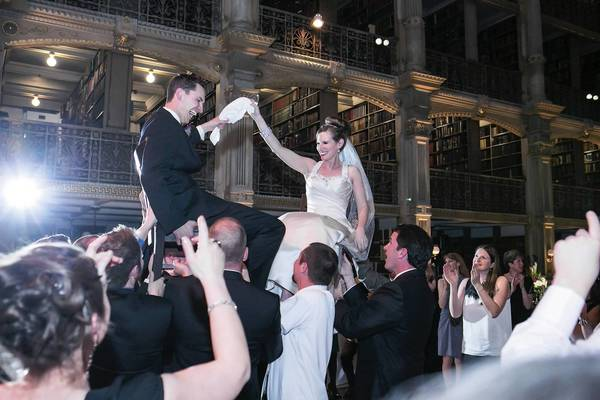 Abby and Chad celebrated their wedding at the Peabody Library in Baltimore.