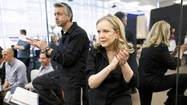 "Director and choreographer Susan Stroman, right, oversees a rehearsal of the musical ""Big Fish"" at The New 42nd St Studios in New York."