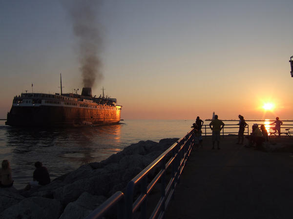 The SS Badger pulls out of Ludington, Mich., as it heads toward Manitowoc, Wis. in 2011.