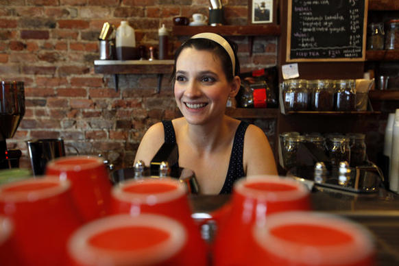 "Kat Palen, 27, is a barista at Cafe Grumpy, the real-life coffee shop featured in HBO's ""Girls."""