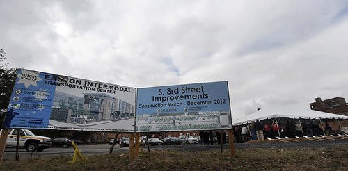 Future site of Easton's long-planned intermodal project kicked off Friday afternoon with a ground breaking ceremony for their new city hall.