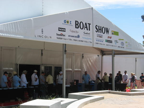 Attendees on line on opening day waiting to purchase tickets for the Palm Beach International Boat Show.