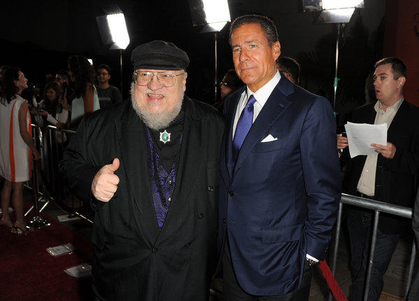 "HBO Chief Executive Richard Plepler, right, and George R.R. Martin, co-executive producer of ""Game of Thrones,"" arrive at the premiere of the series' third season at TCL Chinese Theatre in Hollywood."