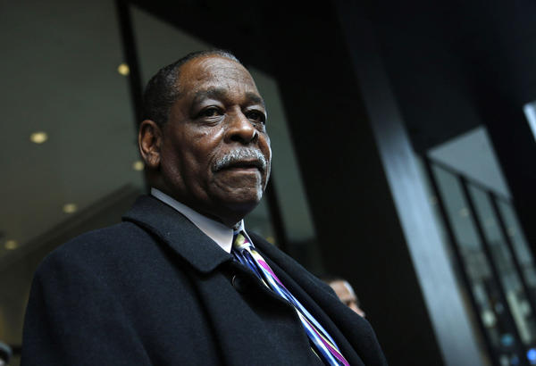 Cook County Commissioner William Beavers addressed the media after he was found guilty on four counts of tax-evasion charges at Dirksen US Courthouse Thursday.