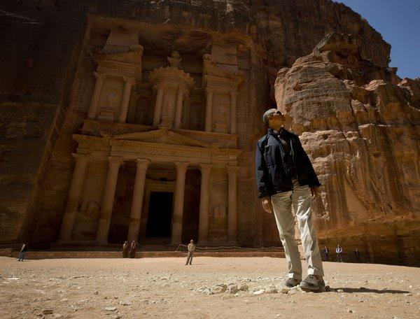 President Obama stops to look at the Treasury during his tour of the ancient city of Petra in Jordan Saturday.