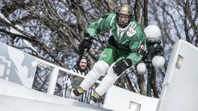 Reed Whiting performs during the international shootout for the Red Bull Crashed Ice in Quebec.