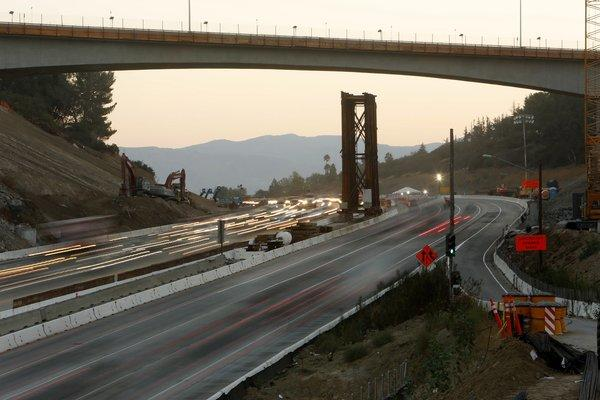 Commuters make their way along the 405 Freeway in the Sepulveda Pass.