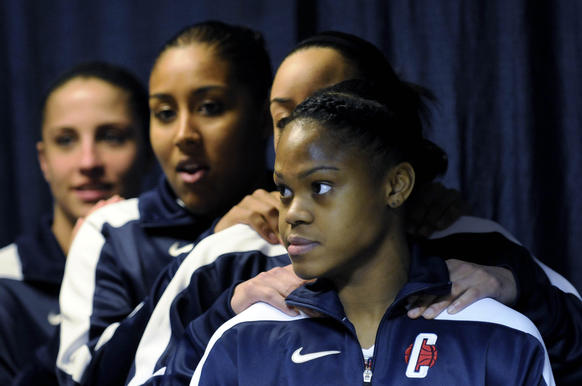 Front to back, UConn's Moriah Jefferson, Bria Hartley, Kaleena Mosqueda-Lewis and Caroline Doty wait in a hallway at Gampel Pavilion to enter the court to warm up for their first-round NCAA Tournament game against the University of Idaho.