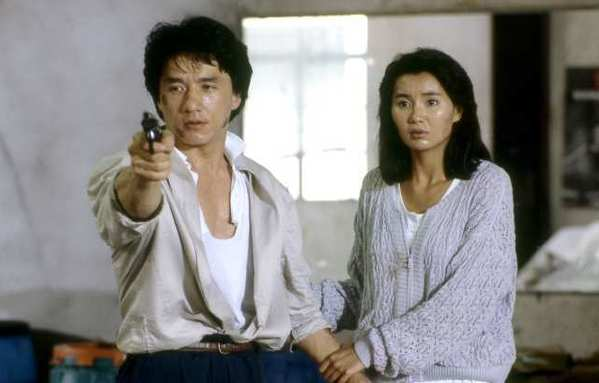"Jackie Chan and Maggie Cheung in ""Police Story."""