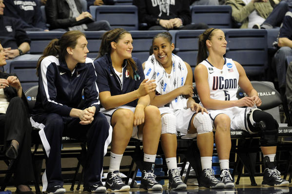 UConn forward Breanna Stewart, left, sat out the first-round NCAA Tournament game against the University of Idaho at Gampel Pavilion Saturday as a precaution after she felt something pull in her left calf at practice Friday.