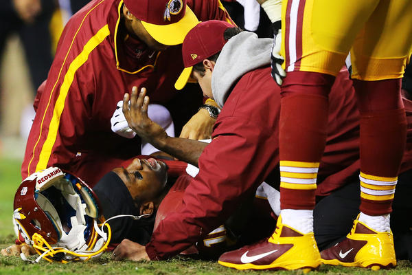 Robert Griffin III receives attention after he was injured on a bad snap in the fourth quarter against the Seahawks during the playoffs.