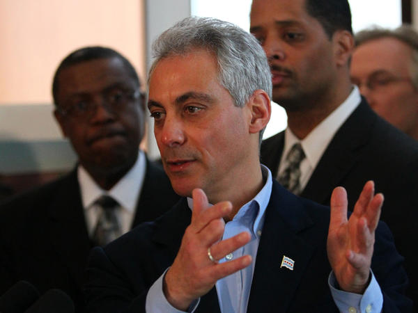Mayor Rahm Emanuel answers a question during a press conference Saturday.