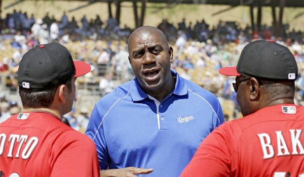 Magic Johnson says that there have been no discussions between the Dodgers' ownership group and the NFL about a potential football stadium at Chavez Ravine.